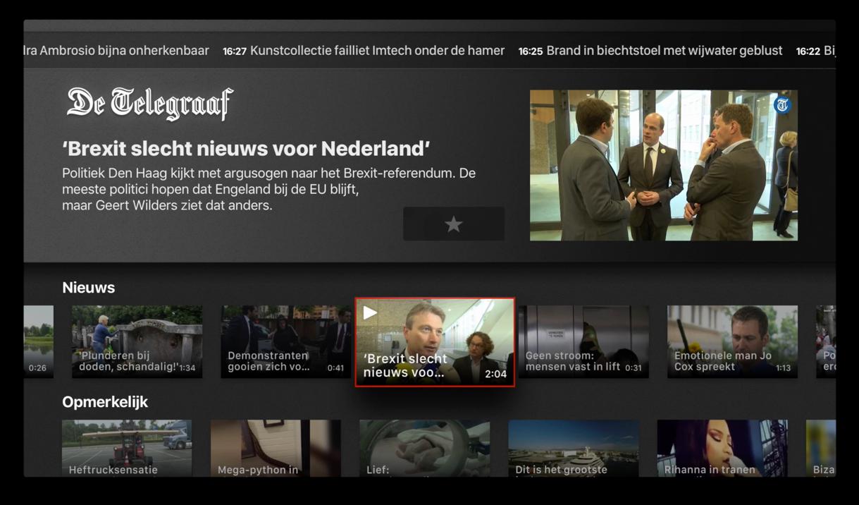 Beginpagina van de Telegraaf-app op Apple TV.