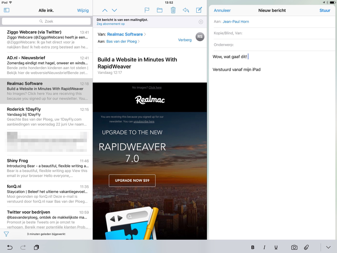 iPad Pro met Mail-app in iOS 10.