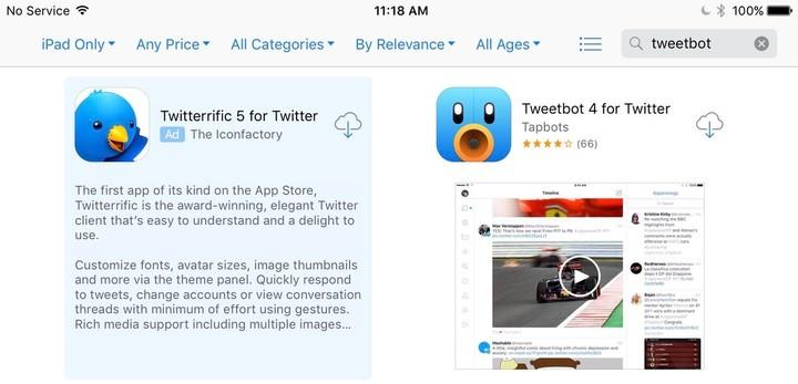 Twitter Tweetbot-reclame in App Store