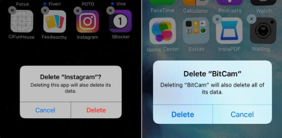 Knoppen voor verwijderen apps is in iOS 10 andersom