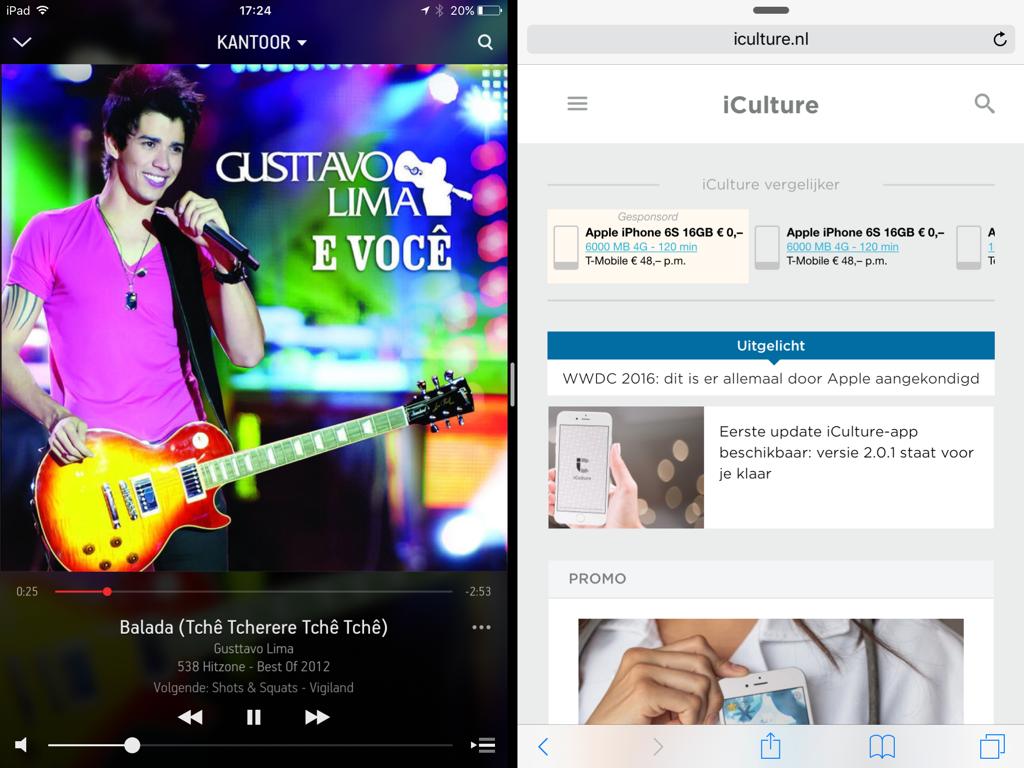 Split View op de iPad met Sonos.
