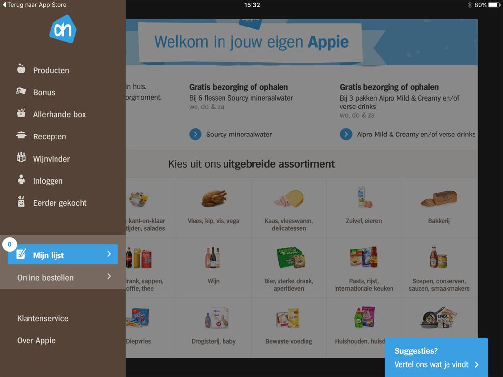 Apple voor tablet: het zijmenu