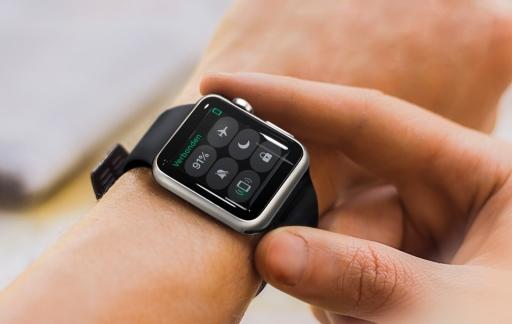 Het Bedieningspaneel op de Apple Watch.
