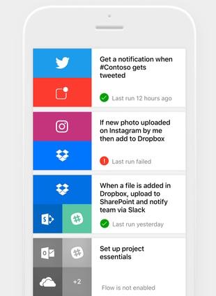 Microsoft Flow voor iPhone met een overzicht.