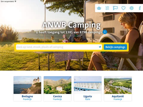 ANWB Camping op de iPad.
