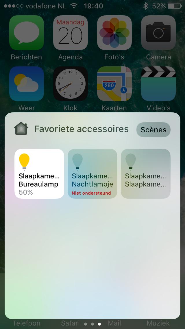 Home in iOS 10 met Bedieningspaneel.