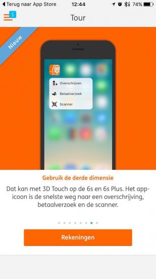ING Mobiel Bankieren met 3D Touch in de tour.