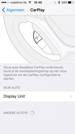Auto-instelling in CarPlay.
