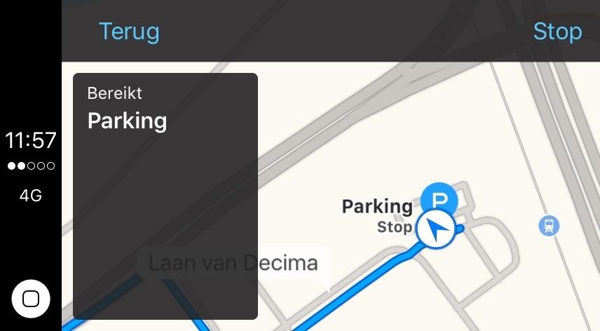 Auto parkeren in CarPlay in iOS 10.