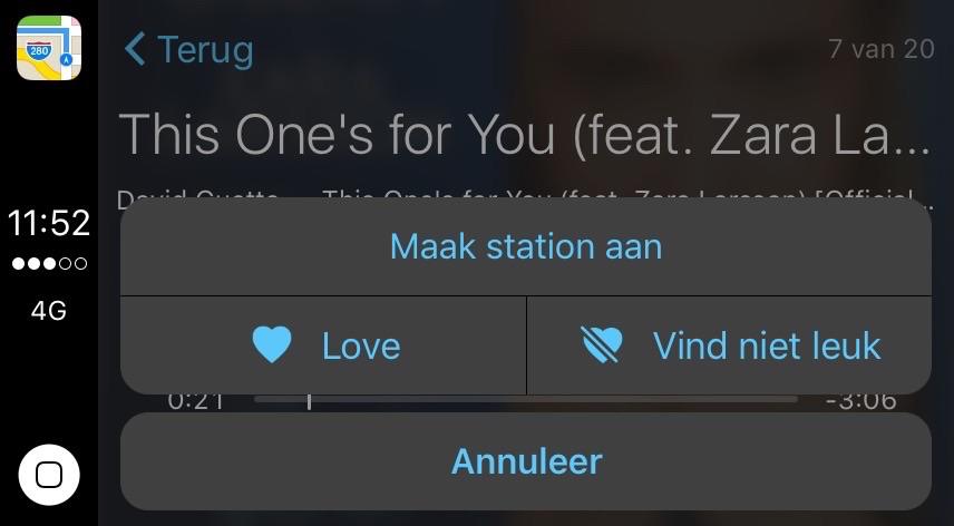 Muziek leuk vinden in CarPlay in iOS 10.