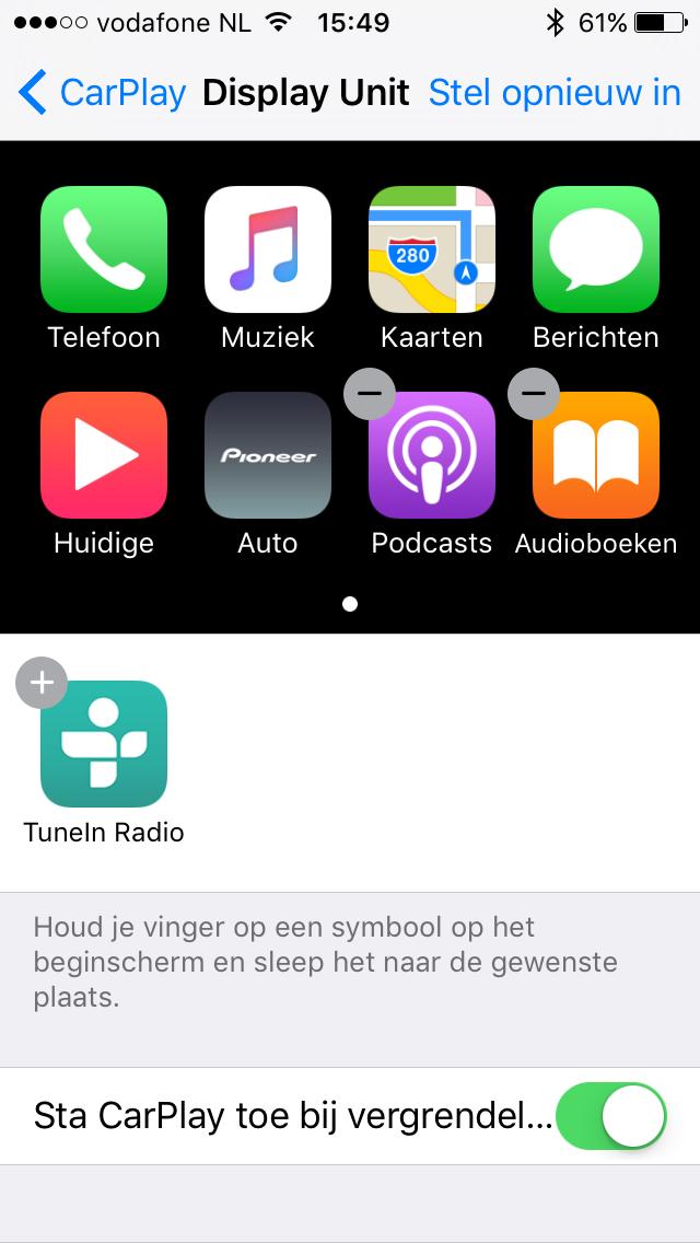 Apps selecteren voor CarPlay in iOS 10.