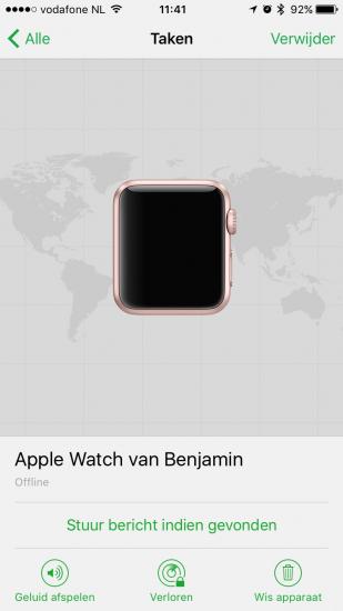 Apple Watch met watchOS 3 in Zoek mijn iPhone.