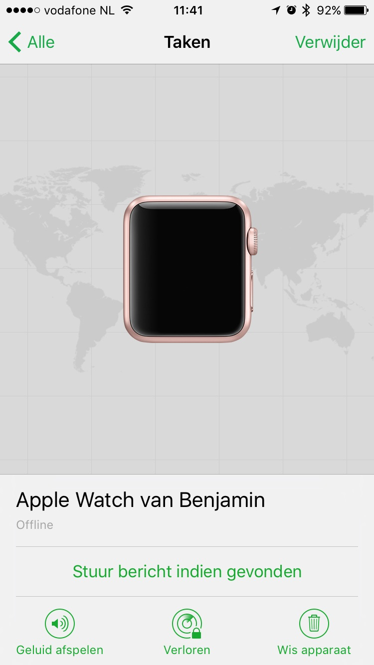 Apple Watch met watchOS 3 in Zoek mijn iPhone.