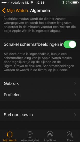 Schermafbeeldingen instellen in de Watch-app in iOS 10.