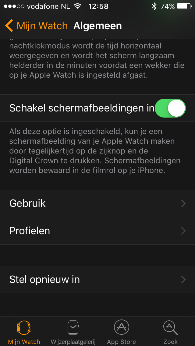 Schermafbeeldingen instellen in de Watch-app in iOS 10.