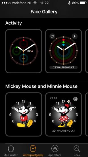 Wijzerplaatgalerij in iOS 10 in Watch-app.