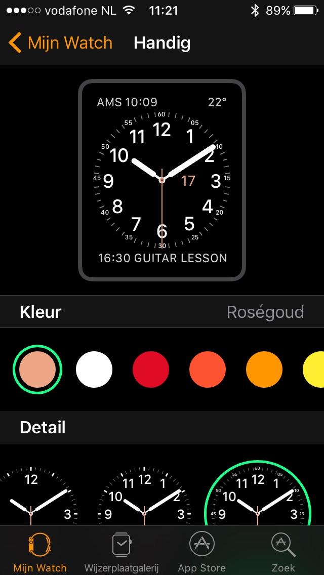 Wijzerplaat instellen in de Watch-app.
