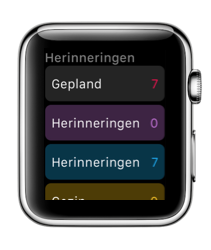 Herinneringen-app in watchOS 3 op de Apple Watch.