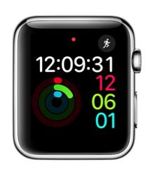 Activiteit-wijzerplaat digitaal in watchOS 3 op Apple Watch.