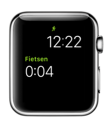 Work-out-complicatie in watchOS 3 op Apple Watch.