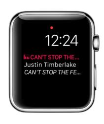 Grote Muziek-complicatie in watchOS 3 op Apple Watch.