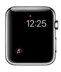 Kleine Muziek-complicatie in watchOS 3 op Apple Watch.