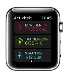 Activiteit met grote details in watchOS 3 op Apple Watch.
