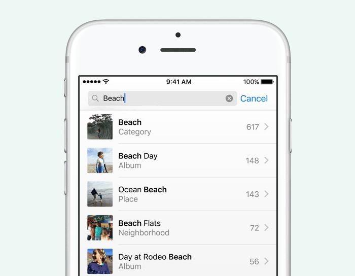 Foto's: zoeken met kunstmatige intelligentie in iOS 10
