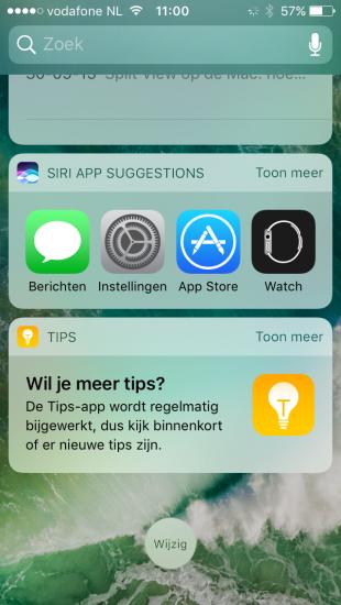 Siri en Tips widgets in iOS 10.
