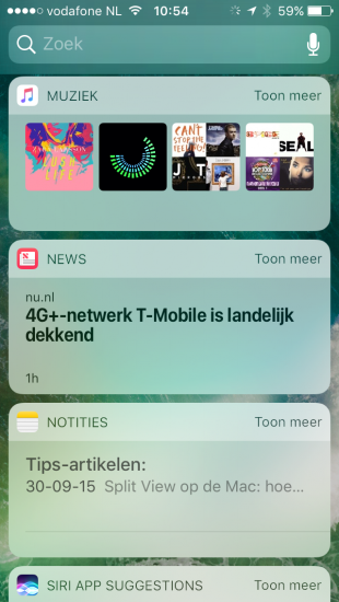 Muziek, Nieuws en Notities widgets in iOS 10.