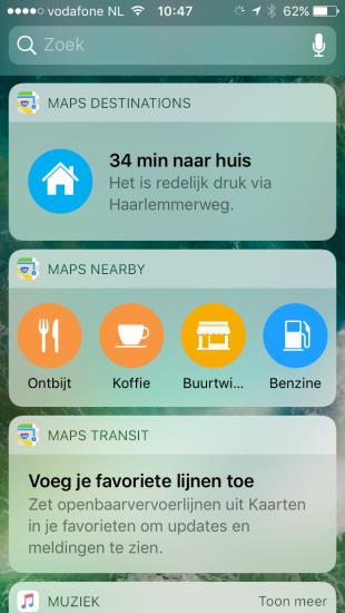 Kaarten widgets in iOS 10.