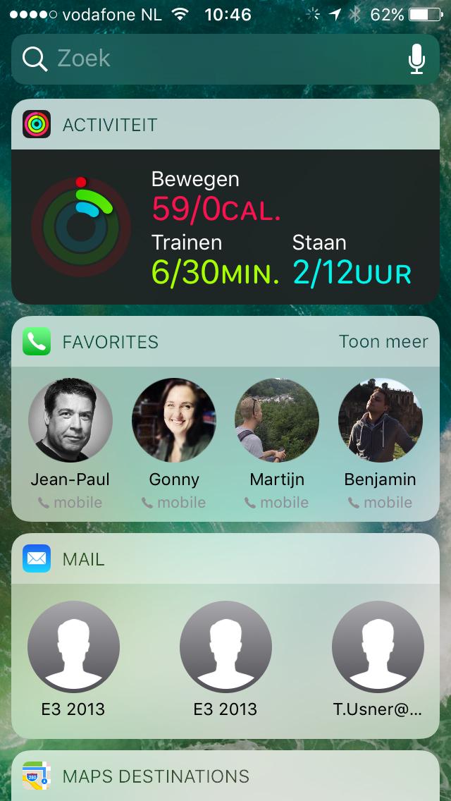 Activiteit, Contacten en Mail widgets in iOS 10.