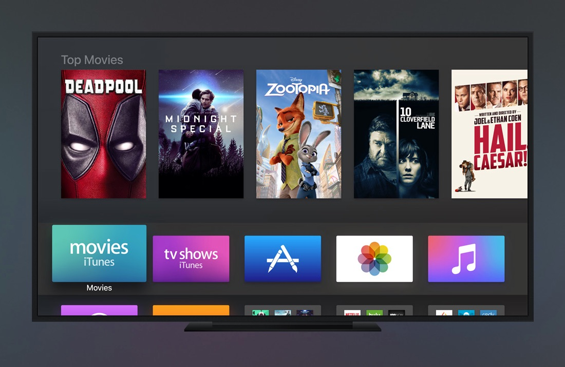 Apple TV met tvOS 10 in donkere stand.