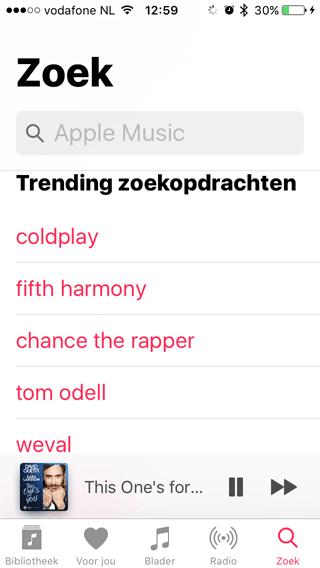 Apple Music in iOS 10: zoeken