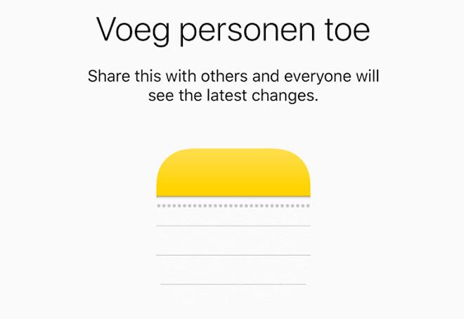 Samenwerken aan een notitie in iOS 10