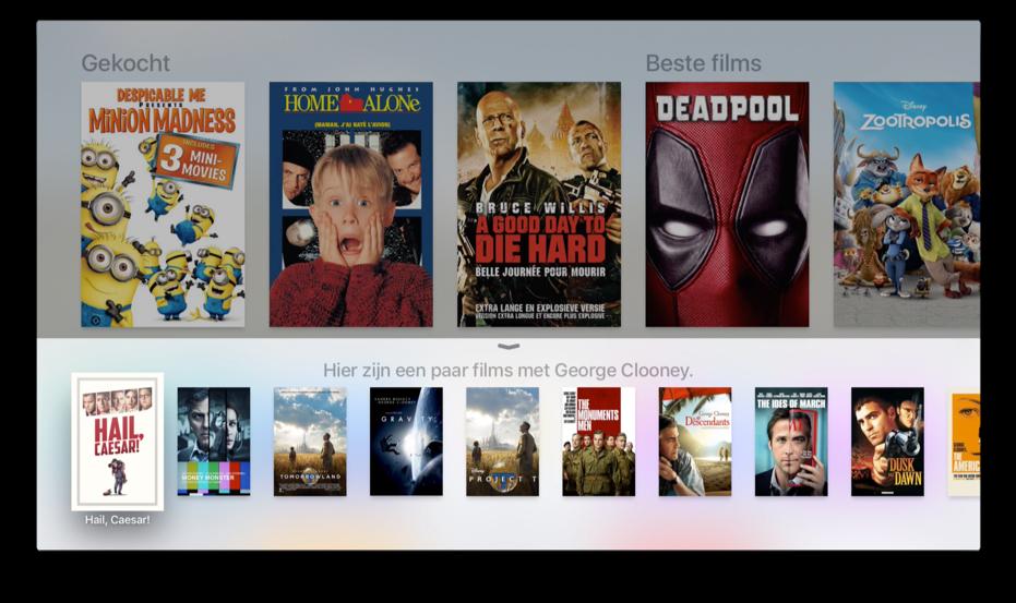 Resultaten van Siri op de Apple TV voor het zoeken naar films.