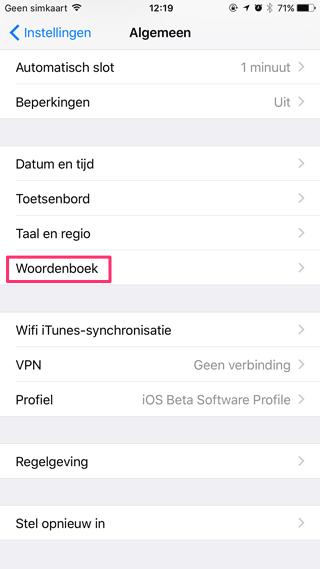 Instellingen in iOS 10: woordenboek
