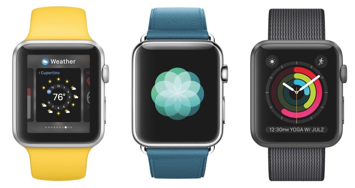 watchOS 3 met wijzerplaten voor de Apple Watch.