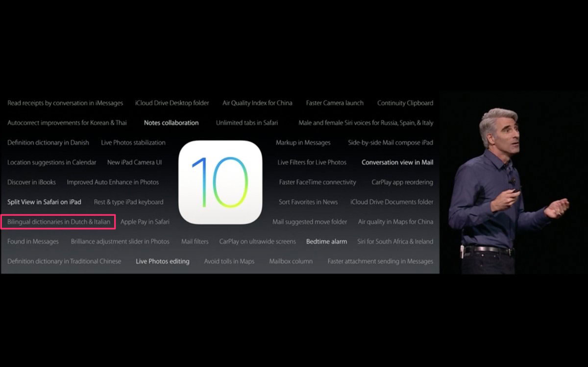 iOS 10 bilingual dictionaries
