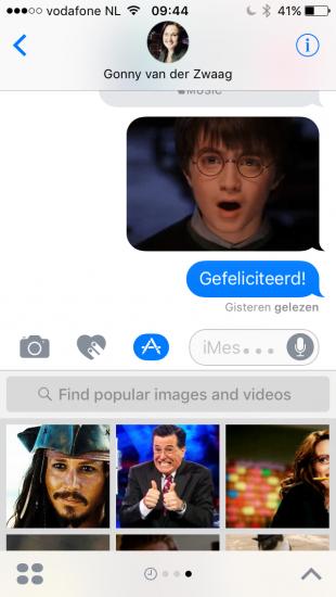 Afbeeldingen zoeken en sturen in iMessage in iOS 10.