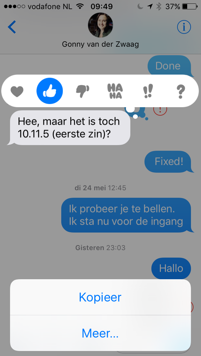 Reageren op een bericht in iMessage in iOS 10.