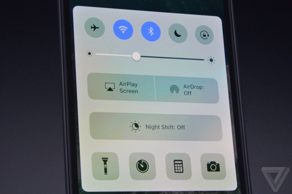 iOS 10 bedieningspaneel.