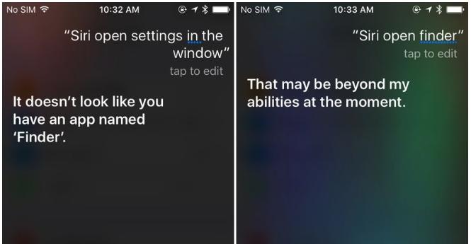 Siri noemt Finder-app