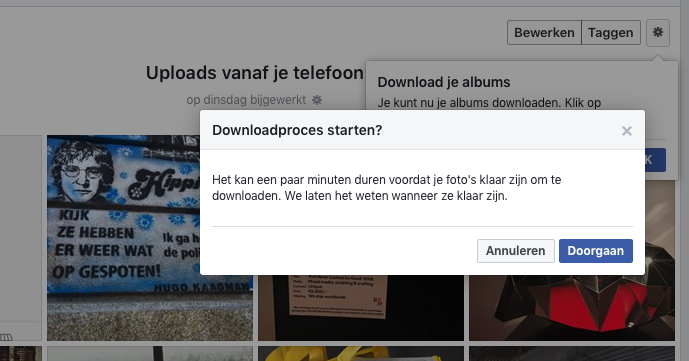 Facebook fotoalbums downloaden