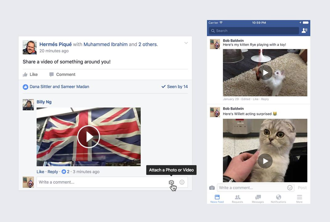 Facebook laat je nu reageren met een video.