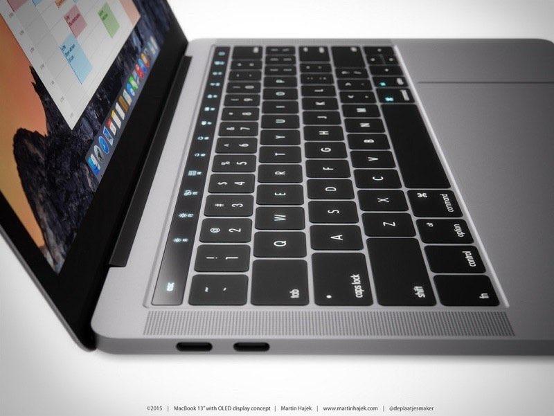 MacBook Pro concept met OLED-balk van de zijkant