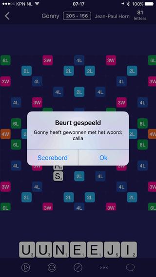 WordCrex: beurt gespeeld, mijn woord is gekozen