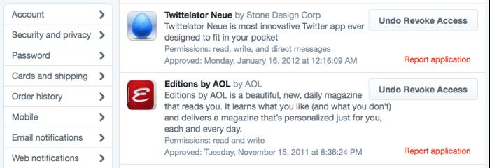 Twitter: toegang van apps intrekken
