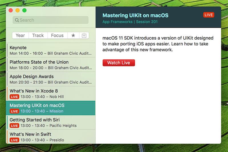WWDC app voor de Mac