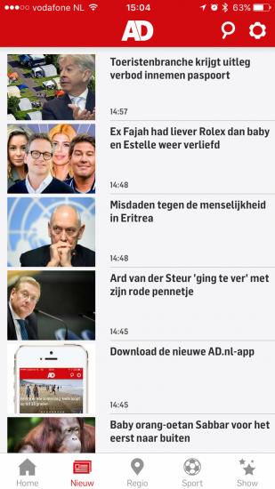 Nieuwsoverzicht in de nieuwe AD-app.
